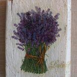decoupage na starym drewnie - lawenda