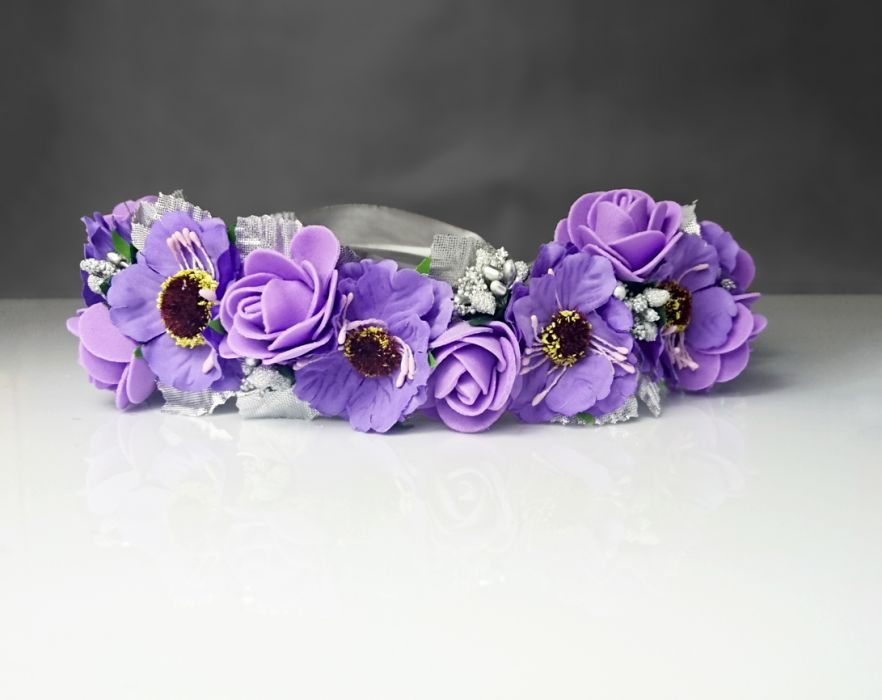 Wianek ślubny srebro i fiolet