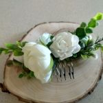 grzebień do włosów stroik biały - ozdoba ślubna