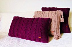 Wrzosowa poduszka wałek w warkocze 60 x 30 cm