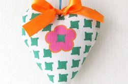 Serduszko dekoracyjna zielono-różowe