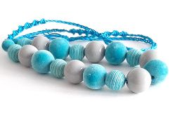 4497 naszyjnik makrama niebieski szary