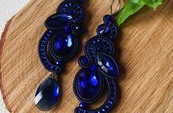 Granatowe kolczyki z kobaltowymi kryształkami