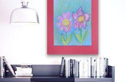 Rysunek z kwiatami na bordowym tle nr 5