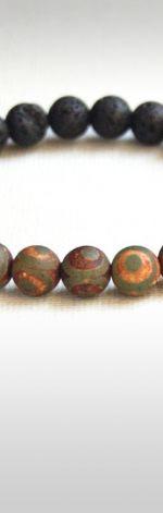 męska bransoletka talizman :: agat tybetański