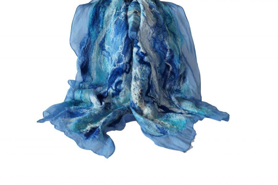 Szal filcowany na jedwabiu BLUE