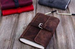 Ręcznie robiony skórzany notes A5 brązowy