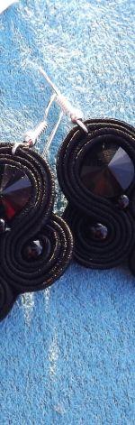Czarne  Rivoli- kolczyki sutasz