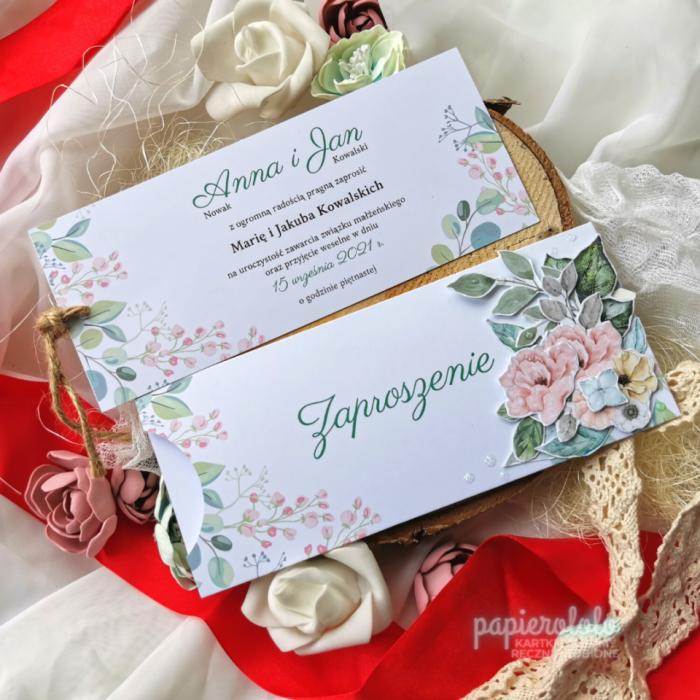 Zaproszenie w stylu vochera na ślub komunię  - Karta z tekstem