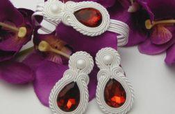 Biżuteria ślubna sutasz biała bordowa czerwon
