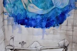 """""""W WANNIE"""" akwarela artystki Adriany Laube"""