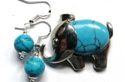 Biżuteria z turkusami, wisiorek słoń kolczyki