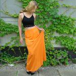 spódnica z kieszenią, pomarańczowa - pomarańczowa