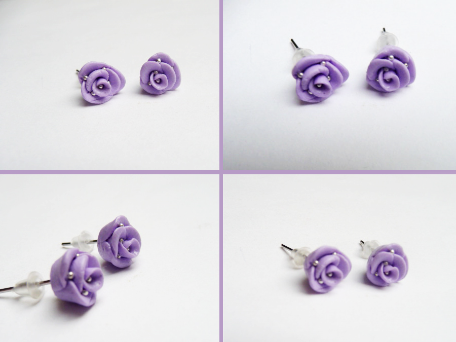 Kolczyki - fioletowe różyczki