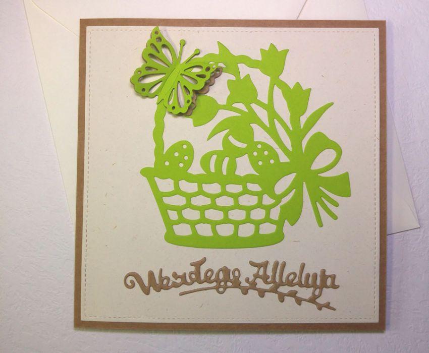 Kartka wielkanocna - zielony koszyczek nr 2 - kartka z kopertą