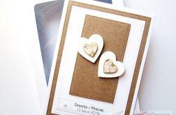 Kartka NA ŚLUB biało-brązowa z sercami