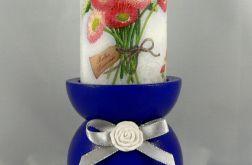 Świecznik niebieski plus świeca