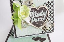 Kartka ślubna w pudełku - mięta i czerń
