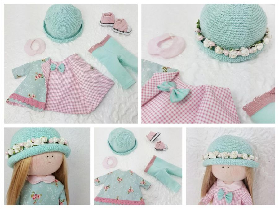 Lalka z ubrankami,  w miętywym kapeluszu