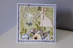 Kartka ślubn na ślub para młoda kwiaty motyl