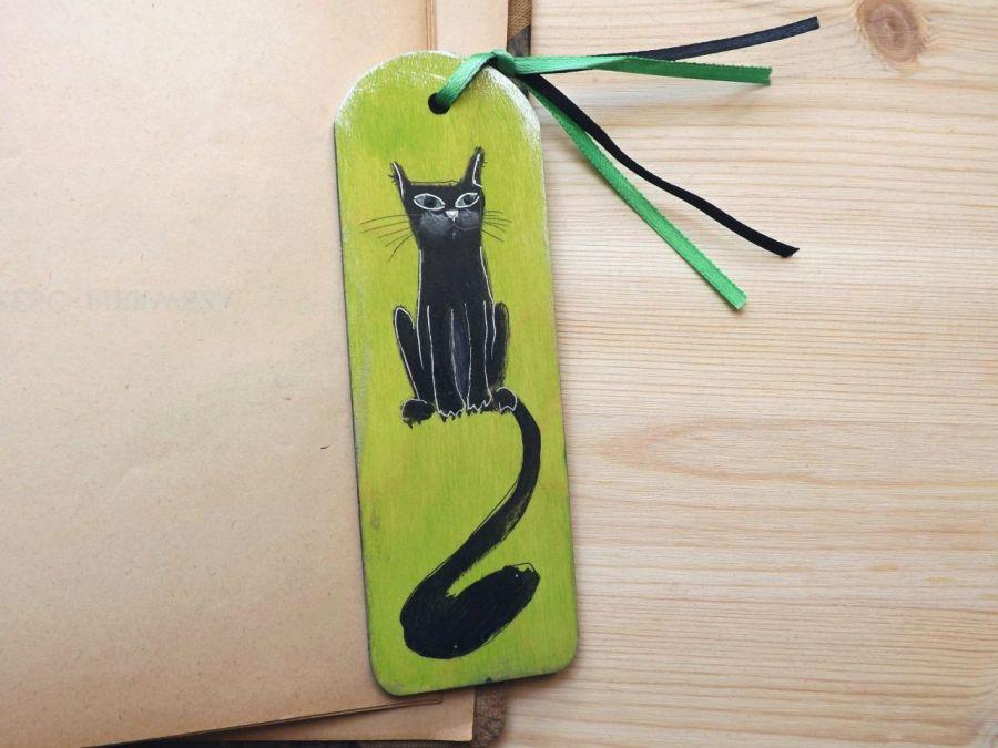 Zakładki malowane - Koty w zieleni