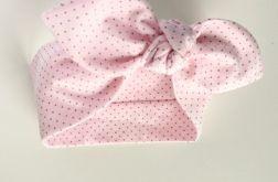 Opaska pin up różowa w szare kropeczki