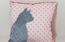 Poduszka z kotem i ogonem 3D szary kot