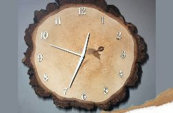 Zegar z plastra drewna - brzoza ciemna 30cm