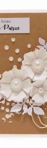 Kartka ślubna białe kwiaty ręcznie robiona