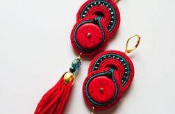Czerwono-turkusowe kolczyki z chwostami