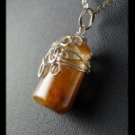 Kwarc, Srebrny wisior z kwarcem z rutylem. - Rutilated Quartz golden hair crystal pendant wrapped in sterling silver wire gift for her gift for mom perfect present /without chain