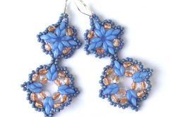 Kolczyki SuperDuo Niebieskie