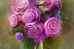 Obraz - Bukiet różowych róż - płótno
