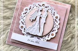 Kartka ślubna pastelowa różowa 01