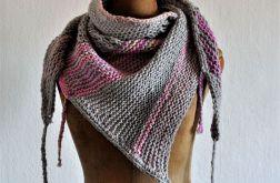 asymetryczna chusta szary/różowy