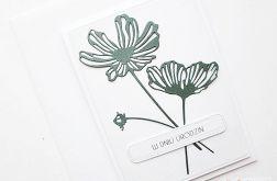 Kartka URODZINOWA - ciemnozielone kwiaty