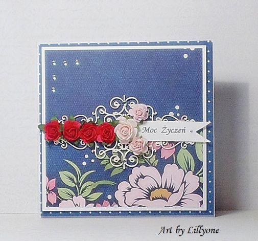 Okolicznościowa kartka z różyczkami