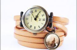 Bransoletka, zegarek - Medytacja - skórzany, antyczny brąz