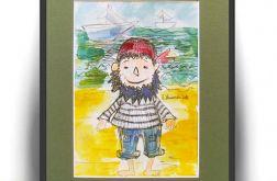 Pirat ręcznie malowana ilustracja