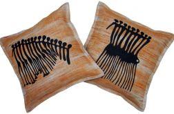 Komplet poszewek lnianych - motyw afrykański