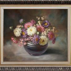 Astry w Wazonie, ręcznie malowany, olej