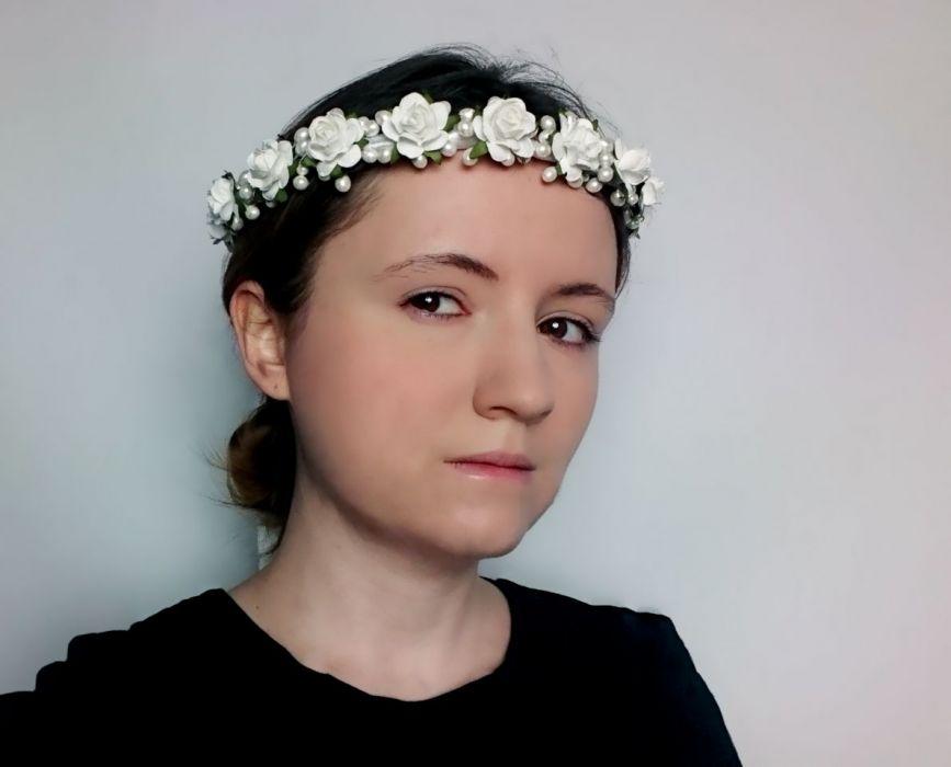 Wianek ślubny komunijny biały perły róże