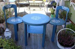 Komplet stolik i dwa krzesła, oryginalny kolo