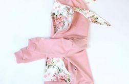 Bluza króliczek kwarc i bukieciki róż