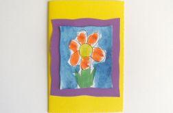 Kartka żólta z kwiatkiem nr 20
