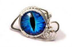 Smocze oko, srebrny pierścionek z okiem