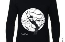 Drzewo - długi rękaw męska - Czarna