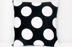Czarno-białe grochy - poduszka Canvas