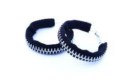 Czarne designerskie kolczyki koła - 4cm