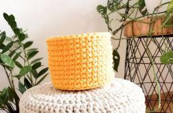 Koszyk 12x11cm,sznurek bawełniany,żółty,szary